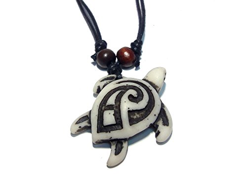 Diy Apple White Costume (Turtle Tribal White Pendant Necklace - Hawaiian Turtle Necklace - Wood Beaded with Adjustable Black Cord)