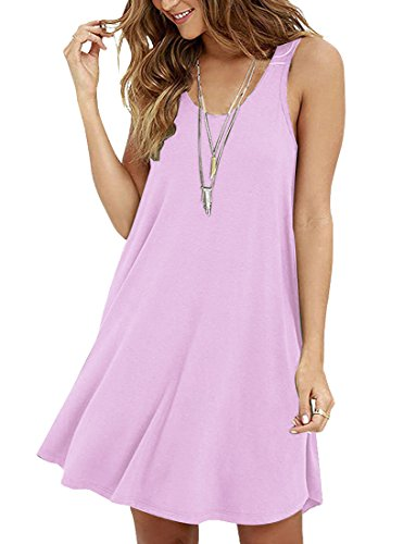 Le Top Pink Dress (Viishow Women's Casual Swing Simple T-Shirt Loose Dress (XL, Pink))