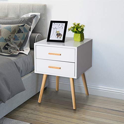 Peach Tree Side End Table Nightstand with 2 Drawers Storage Mid-Century Accent Wood Furniture, White/Wooden by Peachtree Press Inc (Image #6)