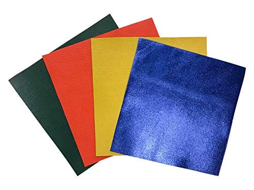 Multicolored Leather Sheets for Crafts: 4 Leather Skin Pieces 5x5In/ 12x12cm