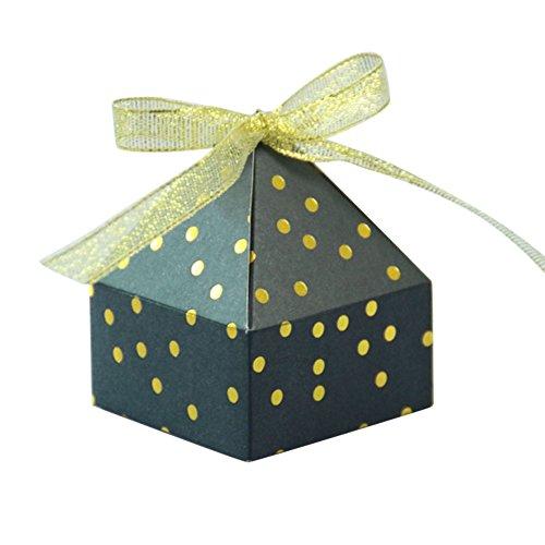 リングレット医療過誤キロメートルiBasteピラミッド型ボックス キャンディーボックス 50枚 収納ケース 収納ボックス 水玉プリントリボン 紙カット ギフトボックス 結婚式 誕生日祝い 出産祝い ウエディングボックス パーティーシルバー ゴールド