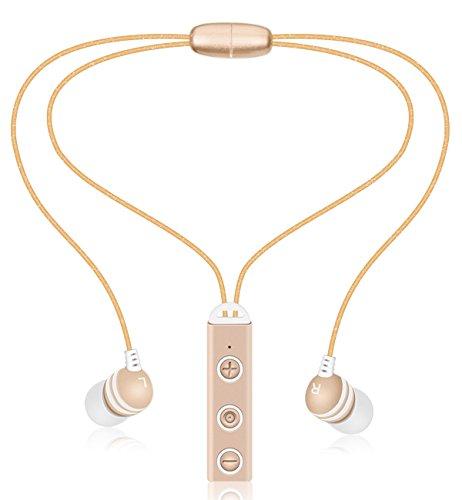 Bluetooth Headphone, Wireless Bluetooth Earphone 4.1 in-ear Earbud Neckband Stereo Sport Headset Dual Earpod Noise Canceling Earpiece for iPhone 6 6S 7 Plus 5S SE Galaxy S7 Edge S6 S5 Smartphone Gold