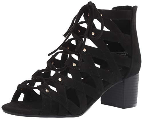 Middle-NA Heeled Sandal, Black Fabric 11 M US ()