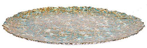 Turquoise Centerpiece Round Serving Platter Tray Catch-All Dish with Gold Vines Floral Pattern - 11 Inches Food Safe for Dining/ Living Room/Home Décor Fruit Holder (Table Centerpieces Breakfast)