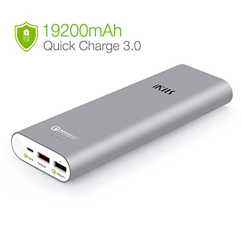 Quick Charge 3.0 iKits [Qualcomm Certified] 20000mAh Power Bank Large Capacity LG Battery Bidirectional QC3.0 Input:QC3.0, Output:2.4A+QC3.0 for Samsung LG Google Nexus iPhone/iPad & more Space Grey
