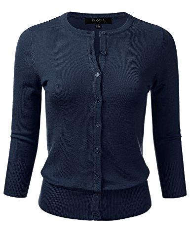 Blue Knit Cardigan Sweater - FLORIA Womens Button Down 3/4 Sleeve Crew Neck Knit Cardigan Sweater Navy S