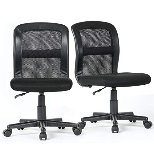 2-Packs YAMASORO Office Mesh Task Chair Mid Back Swivel Computer Desk Chairs with Backrest and Adjustable Seat Height for Home Office Conference Room Black