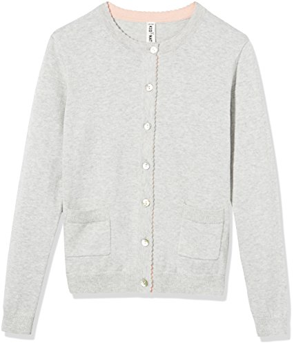 Kid Nation Girls' Long Sleeve Cardigan Sweater Classic with Pocket M Light Grey