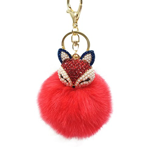 Raylans Women Faux Rabbit Fur Pom Pom Ball Fox Head Rinestone Bag Car Charm Keychain Pendant,Red (Charm Red Rabbit)