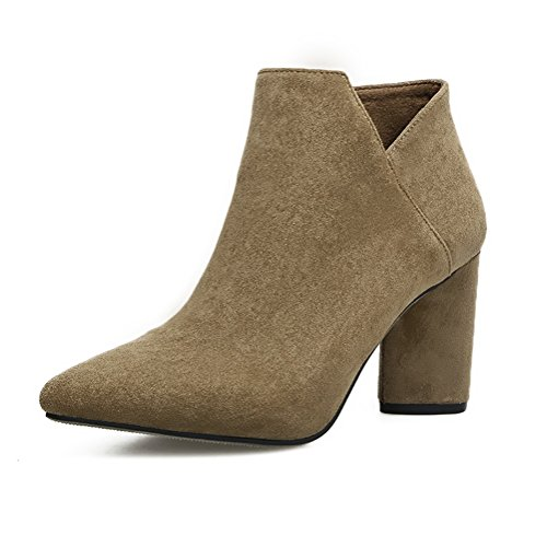 Meeshine Womens Suede Bootie Side Zip Chunky Low Heel Ankle Boots Khaki