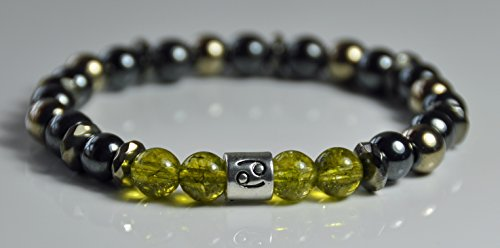 Zodiac Bracelet, Birthstone Bracelet, Peridot Hematite Grounding Mala Gemstone Bracelet, Prosperity Men Bracelet,