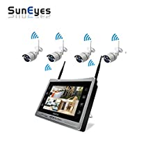 SunEyes SP-JKS1804W 4CH 1080P Full HD Wireless IP Camera NVR Kit with 12.5inch LCD Screen ,IR Night Vision Outdoor Wifi Camera Plug&Play
