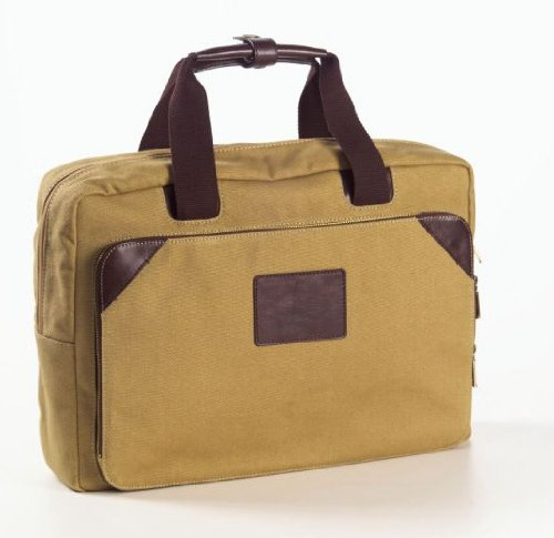 "Clava Canvas 15.5"" Laptop Briefcase, Computer Bag in Ivory"