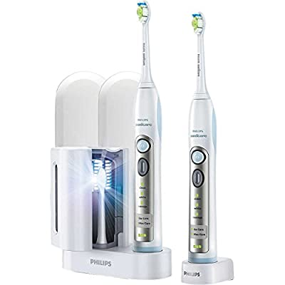 Philips Sonicare FlexCare Whitening Edition Rechargeable Toothbrush 2-Pack Bundle (2 FlexCare Handles + 2 DiamondClean Brush Heads + UV Sanitize + Charger + 2 Travel Caps+ 2 Travel Cases)