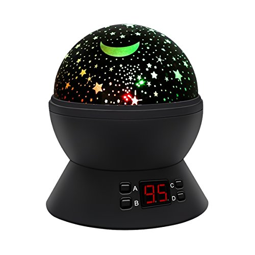 Star Sky Night Light Projector,SStechi Multicolor Changes Romantic Rotating Moon Sleep Night Light Lamp with LED Timer Auto-Shut Off in Bedroom Livingroom for Baby Kids Adults Nursery Black