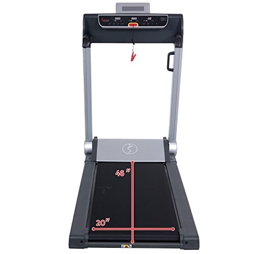 Sunny Health & Fitness Motorized Folding Running Treadmill with Wide Base, Portable, USB, Aux, Flat Folding & Low Profile - Strider, SF-T7718, Black by Sunny Health & Fitness (Image #10)