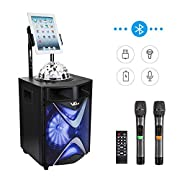 #LightningDeal VeGue Wireless PA Speaker System for Kids and Adults with 10'' Subwoofer Bluetooth Karaoke Machine, Disco Ball, 2 UHF Wireless Microphones, Ideal for Home Party, Meeting, Wedding,Church