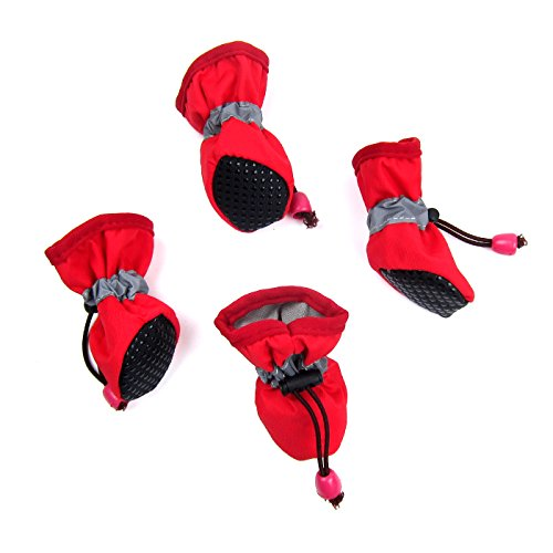 Alfie Pet by Petoga Couture - Hudson All Weather Set of 4 Dog Boots - Color: Red, Size: XXL