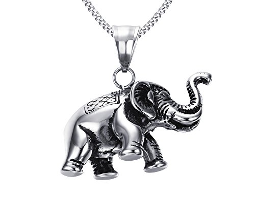 VNOX Stainless Steel Good Luck Animal Vintage Elephant Pendant Necklace,Free Chain