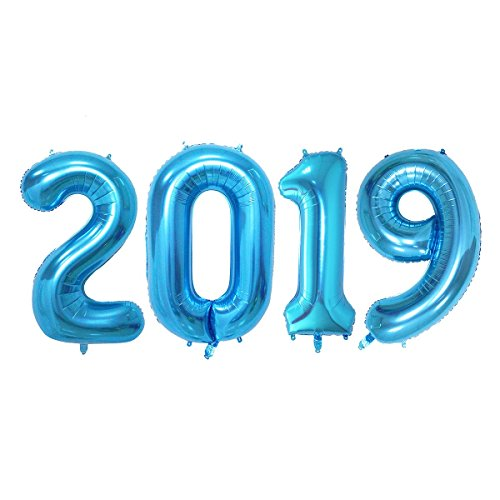 2019 Balloons, 40 Inch Blue Big Mylar Balloon | 2019 Foil Balloons Four Numbers of 2, 0, 1, 9 | New Year Graduation New Home Celebration | LeTime -