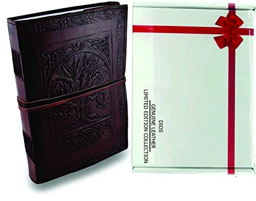Dios Leather Journal, Dark Brown Tree of Life Antique Handmade Personal Organizer Notepad For Men & Women, Travel Diary & Notebook Best Christmas Gift for Him Her with Gift Box Packing (10 x 7 Inches) (Tree Of Life Journal Lock)
