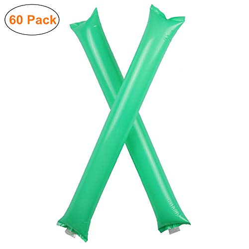 Furry Sunny Thunder Sticks Inflatable Cheer Sticks Blow Bar Inflatable Boom Sticks Noisemakers Stick Basketball Football Noisemakers Party Favors 60 Pack(Green)