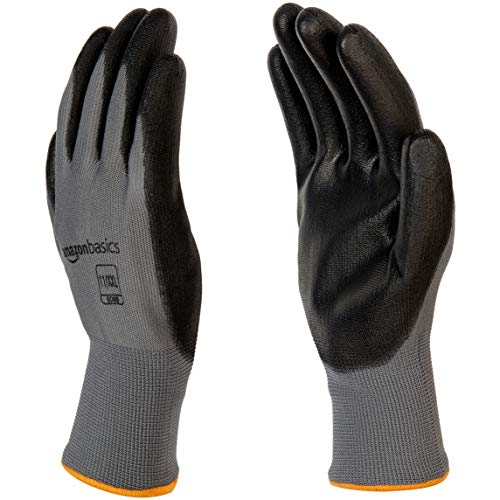 AmazonBasics Polyurethane Coated Work Gloves, Polyester Liner Fiber, Touch Screen, Grey, Size 11, XXL, 12-Pair