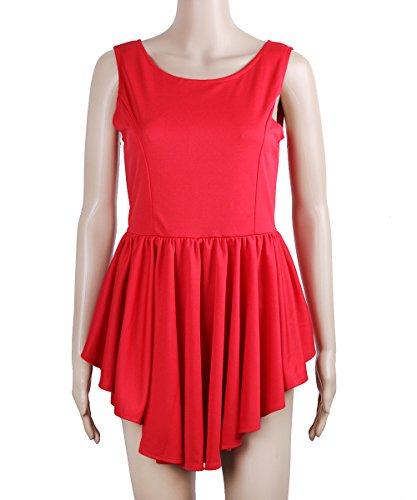 Mangas Irregulares Hem Visten Sin Camisetas Mujeres Rojo Sin Camiseta XINGMU Verano Vestidos O De Mangas Cuello IfwSqCx
