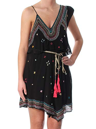 Free People Womens Embroidered One Shoulder Casual Dress Black XS