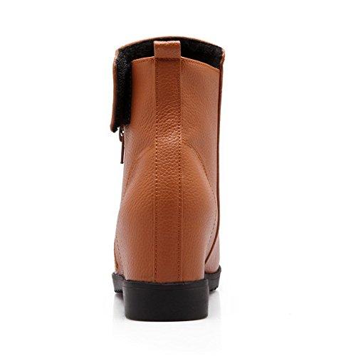 Allhqfashion Women's Solid Kitten-Heels Round Closed Toe PU Zipper Boots Yellow khpqSkZ