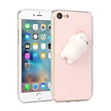 "Boddenly Phone Case Squishy Cat 3D Cute Cat Clear Silicone Back Soft Case Cover for iPhone 7 4.7"" (Pink)"