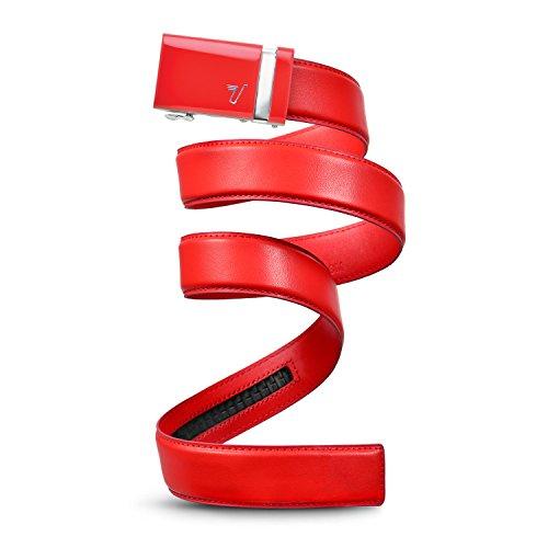 Mission Belt Men's Ratchet Belt - Rooster - Red Buckle/Rooster Red Leather, Medium (33-35)