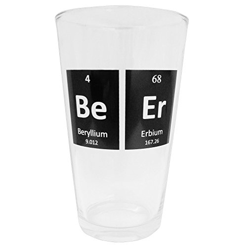 Smart Mugs Periodic Beer Glass, 1 Pint Size, Beer Mug Glassware for Bars, Kitchen & - Periodic Beer Table