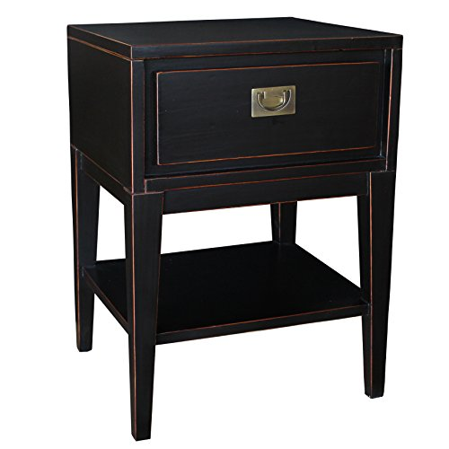 Antique Black Lacquer - Porthos Home Antique Revival Colbert Lacquer Sidetable, Black
