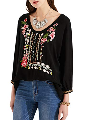 AK Women's Summer Boho Embroidery Mexican Bohemian Tops Shirt Tunic Blouses Black