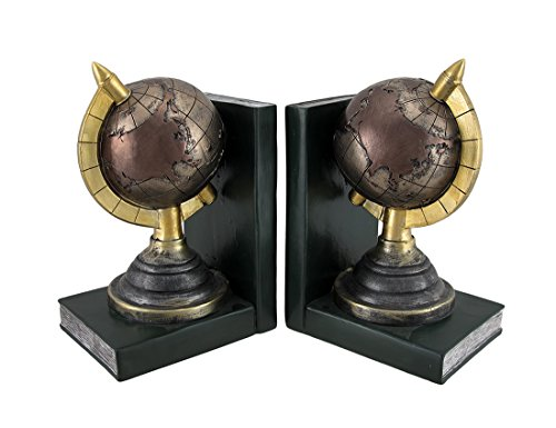metallic-finish-terrestrial-globe-bookends-set-of-2