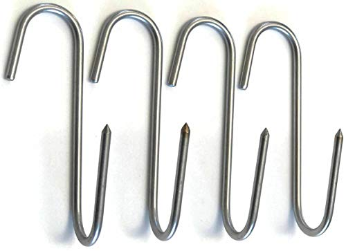 RiversEdge Products Stainless Meat Hooks, Smoker Hook, 5 Right Angle, 4 Pack