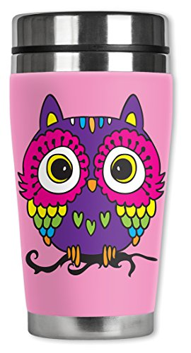 Mugzie Pink Owl Travel Mug with Insulated Wetsuit Cover, 16