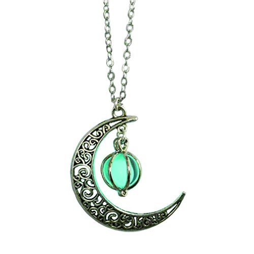 Glowing Moon Necklace Alloy Jewelry Blue Green Color 18 Inches