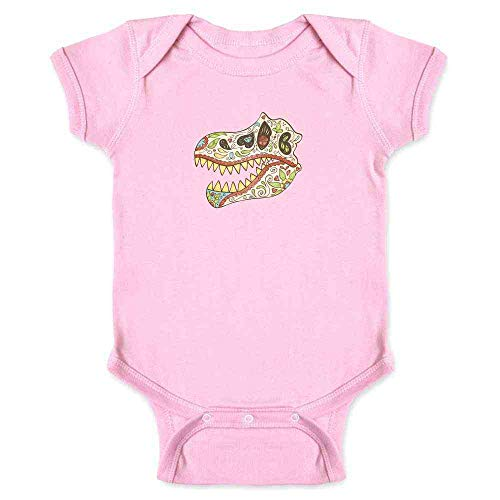 Tyrannosaurus Sugar Skull Halloween Costume Horror Pink 6M Infant Bodysuit
