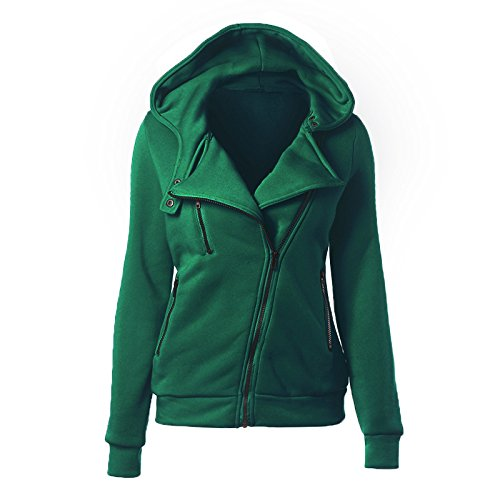 COAT DYF Big Size Hat Women XXXXL Zipper Color Coat Solid Long Green Pocket FYM Sleeve HRwqdH
