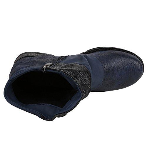 Stiefelparadies Damen Biker Boots Leder-Optik Stiefeletten Warm Gefütterte Booties Blockabsatz Winter Schuhe Winterboots Zipper Snake Print Flandell Dunkelblau Prints