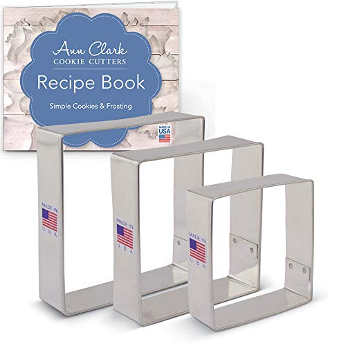 Square Cookie Cutter Set with Recipe Booklet - 3 piece - 2.5