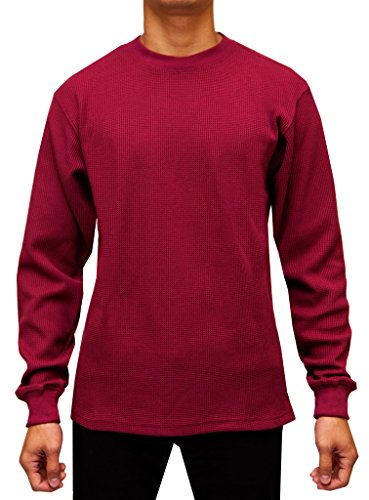 Access Men's Heavyweight Long Sleeve Thermal Crew Neck Top Burgundy Large Heavyweight Long Underwear Tops