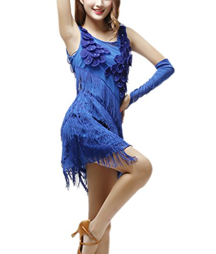 Whitewed Tassel Women s 1920s Flapper Salsa Dance Showgirl Costumes Dress Blue]()