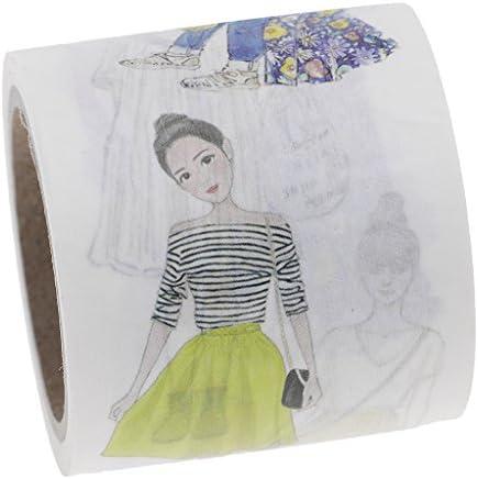 マスキングテープ 和紙製 ステッカー DIY飾りテープ 手帳などのマーク用  かわいい 少女 幅40mm×7m