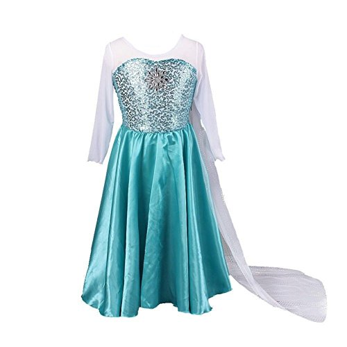 Buy Home Girls Snow Queen Costume Snow Princess Elsa Cosplay Dress (3T(110cm))