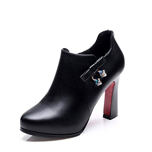 KHSKX-Herbst Und Winter Schuhe Mit Dicken Retro - Martin Stiefel Schuhe Mit Hohen Absätzen Mit Britischen Stil - Stiefel Stiefeletten. black