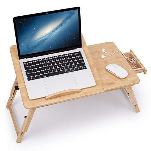 Juns Laptop Desk Adjustable Bamboo Breakfast Serving Bed Tray Tilting Top with Drawer