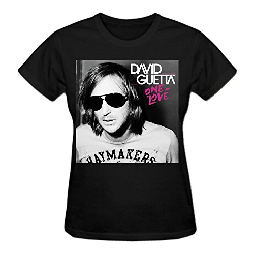 Abover David Guetta One Love Graphic T Shirts For Women Crew Neck Black